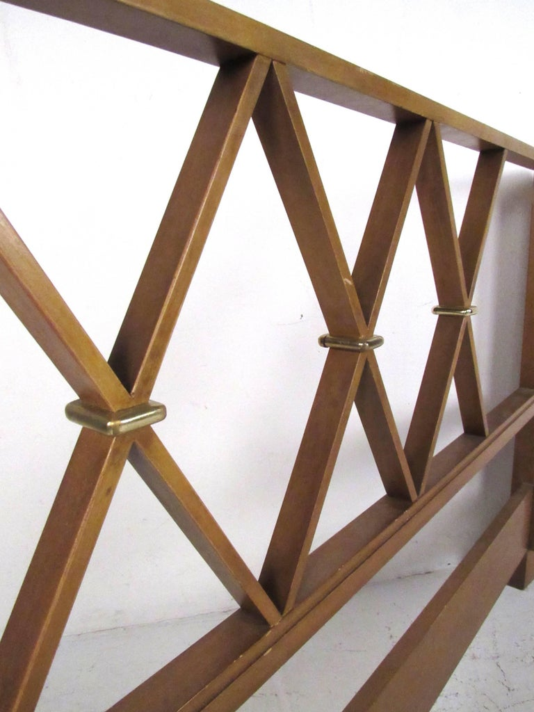 American Paul Frankl Queen-Size Mahogany and Brass Headboard For Sale