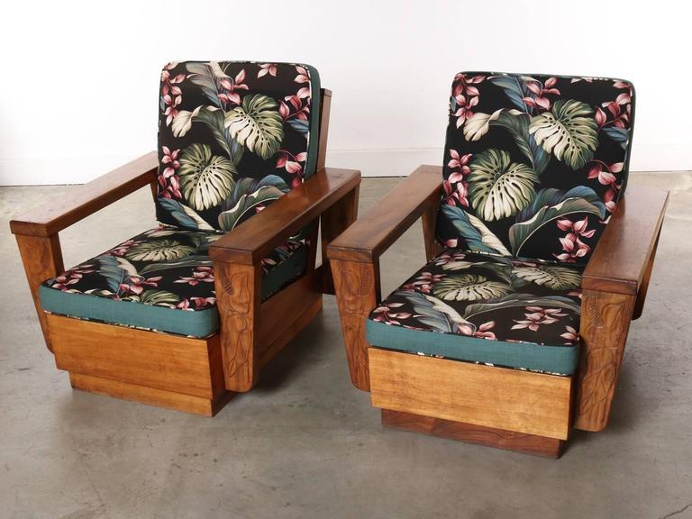 Pair Of 1940s Hawaiian Koa Wood Club Chair At 1stdibs