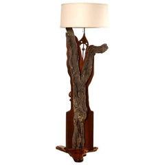 Wooden Floor Lamp, California, 1970s
