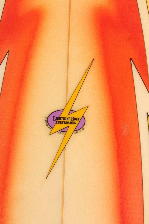 All Original Orange Airbrushed Lightning Bolt Surfboard