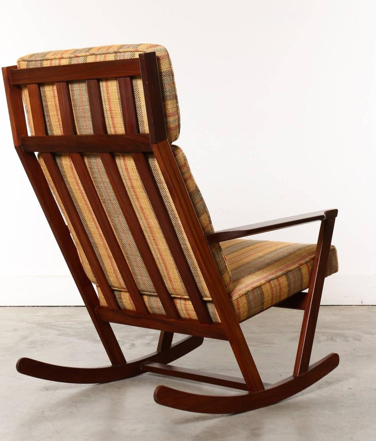 Danish modern wooden rocking chair with cushions designed