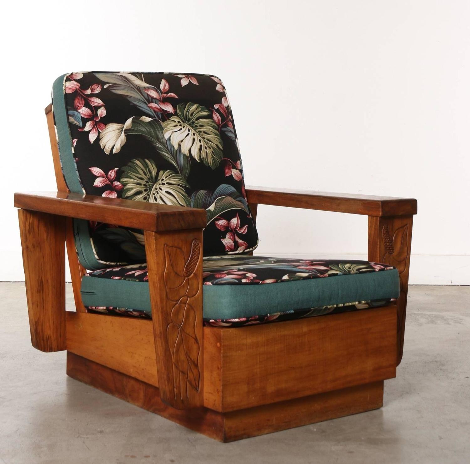 Wooden Furniture For Sale: Pair Of 1940s Hawaiian Koa Wood Club Chair At 1stdibs