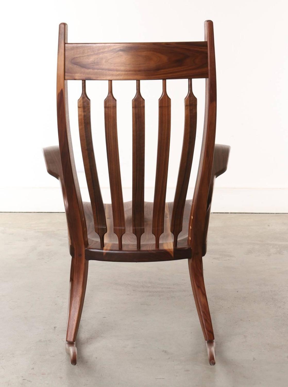 ... Craftsman Wooden Rocking Chair, Dark Walnut For Sale at 1stdibs
