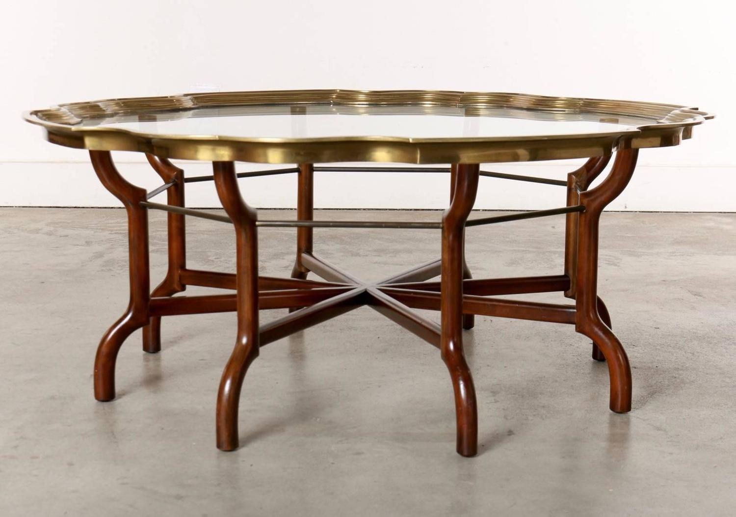 Baker brass and glass round tray top coffee table at 1stdibs for Round brass and glass coffee table
