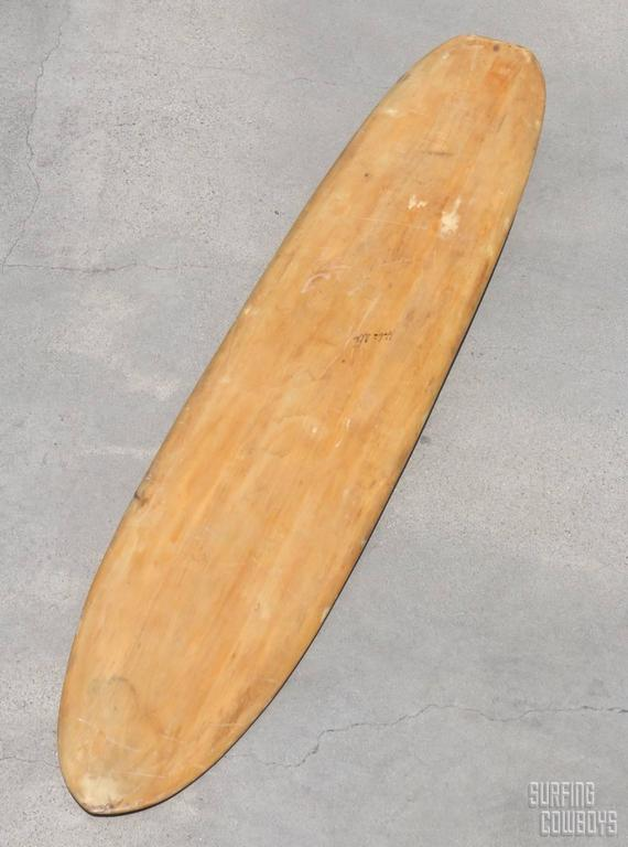 Balsa Wood Surfboard Circa 1950 All Original Signed By