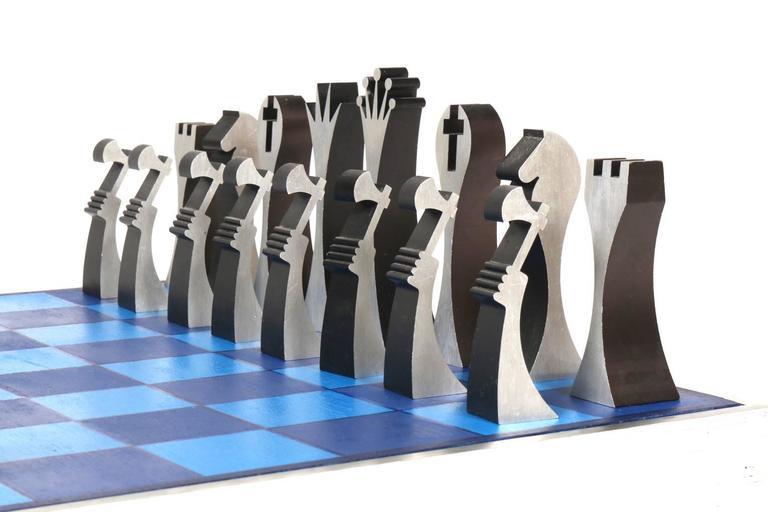 Mid Century Chess Set Machine Tooled Aluminum 1972 Usa