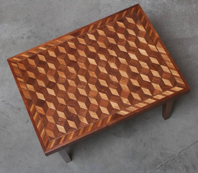 Geometric Marquetry Coffee Table And Side Table Set In The