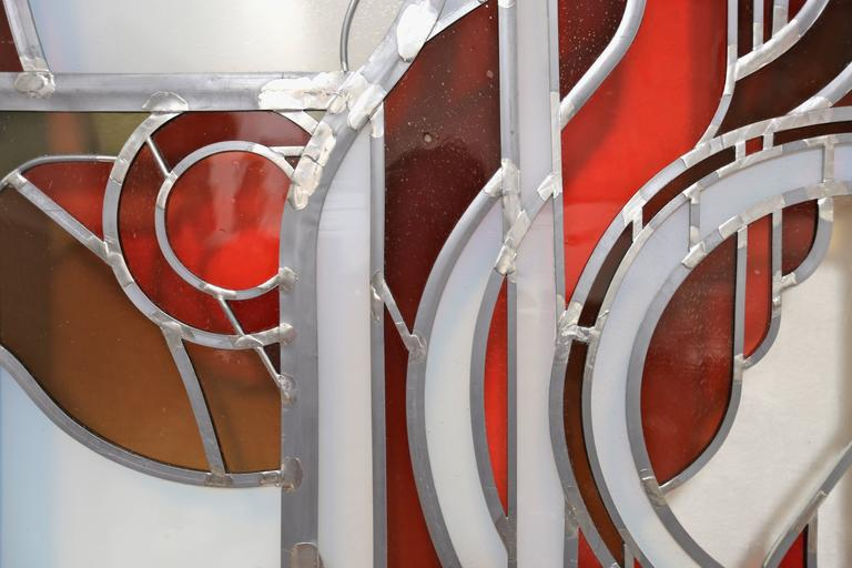 Studio Crafted Stained Glass Abstraction For Sale At 1stdibs