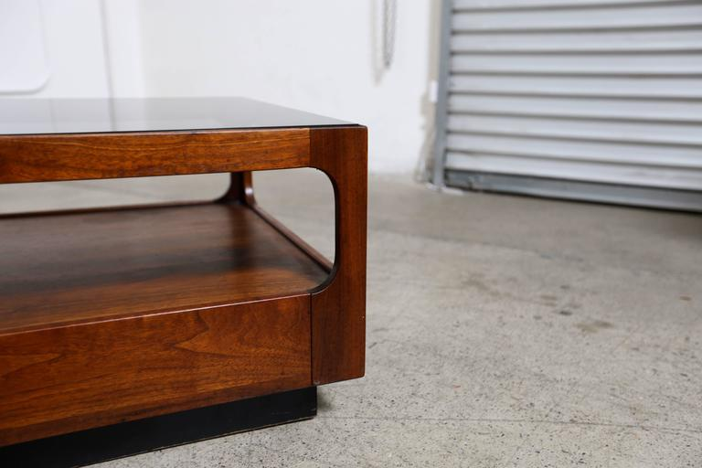 Smoked Glass And Walnut Coffee Table By Brown Saltman At 1stdibs Rh 1stdibs  Com John Keal Brown Saltman Furniture Brown Saltman California Furniture