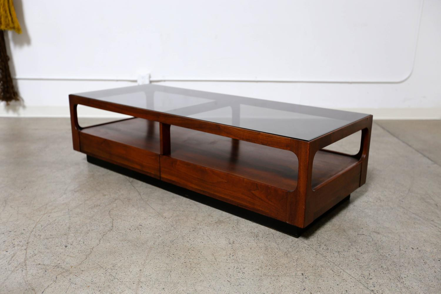 Smoked Glass And Walnut Coffee Table By Brown Saltman At 1stdibs