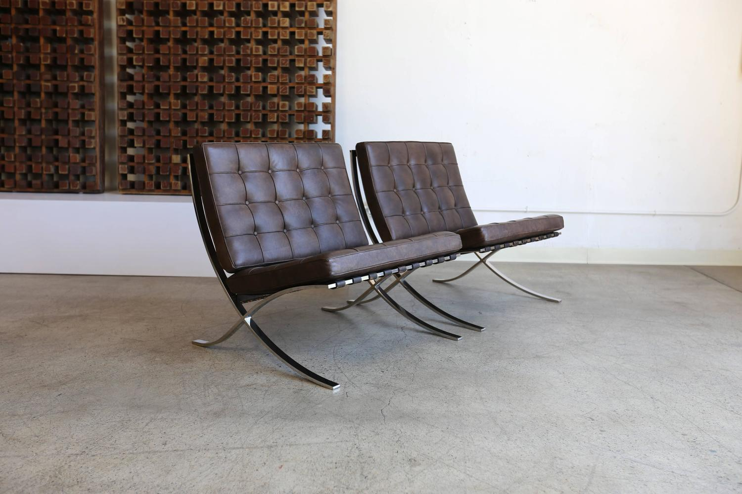 rare barcelona chairs by ludwig mies van der rohe for gerald r. Black Bedroom Furniture Sets. Home Design Ideas