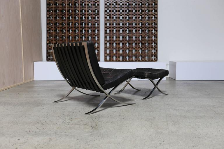 20th Century Pair of Knoll 1972 Barcelona Chairs with Ottoman by Mies Van Der Rohe For Sale