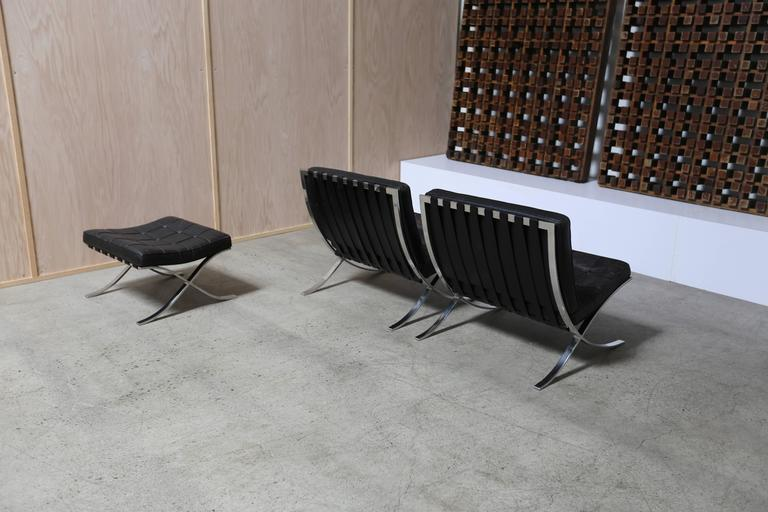 Stainless Steel Pair of Knoll 1972 Barcelona Chairs with Ottoman by Mies Van Der Rohe For Sale