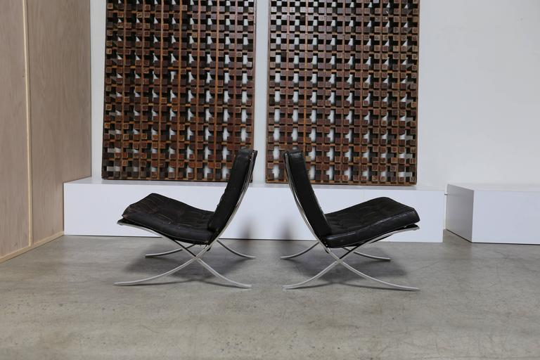Pair of Knoll 1972 Barcelona Chairs with Ottoman by Mies Van Der Rohe In Good Condition For Sale In Laguna Hills, CA