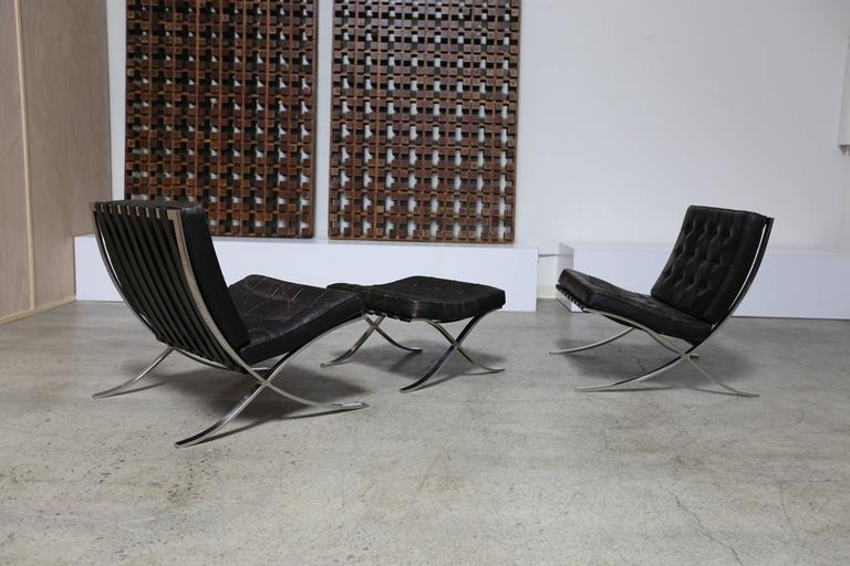Pair of Knoll 1972 Barcelona Chairs with Ottoman by Mies Van Der Rohe For Sale 2