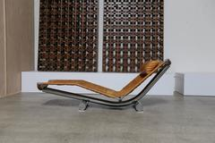 """Leather and Chrome """"Chariot """"Chaise Lounge Paul Tuttle"""
