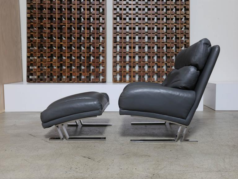 Leather Lounge Chair And Ottoman By Milo Baughman For