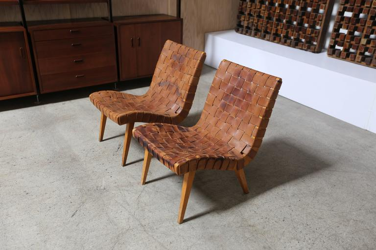 jens risom leather strapped lounge chairs for sale at 1stdibs