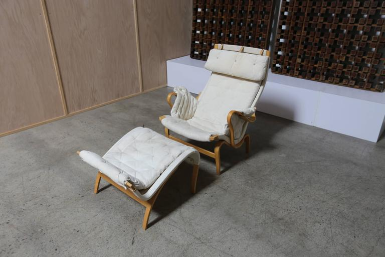 Canvas Pernilla Lounge Chair and Ottoman by Bruno Mathsson For Sale