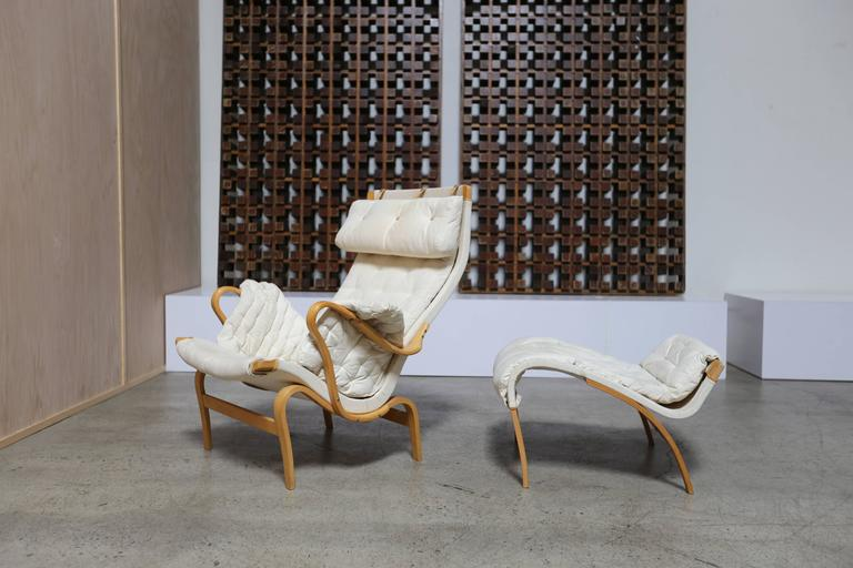 Bentwood Pernilla lounge chair and ottoman by Bruno Mathsson. 