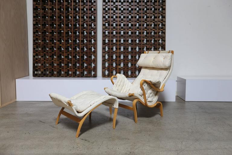 Mid-Century Modern Pernilla Lounge Chair and Ottoman by Bruno Mathsson For Sale