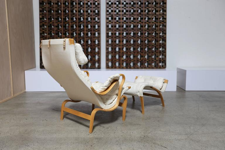 Swedish Pernilla Lounge Chair and Ottoman by Bruno Mathsson For Sale