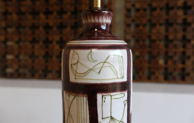 20th Century Ceramic Table Lamp by Guido Gambone For Sale