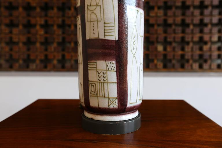 Mid-Century Modern Ceramic Table Lamp by Guido Gambone For Sale