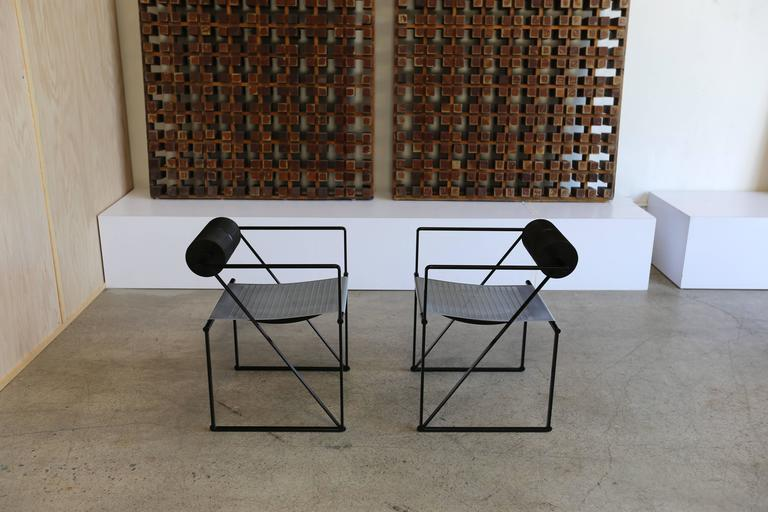 Steel Pair of Seconda 602 Armchairs by Architect Mario Botta For Sale