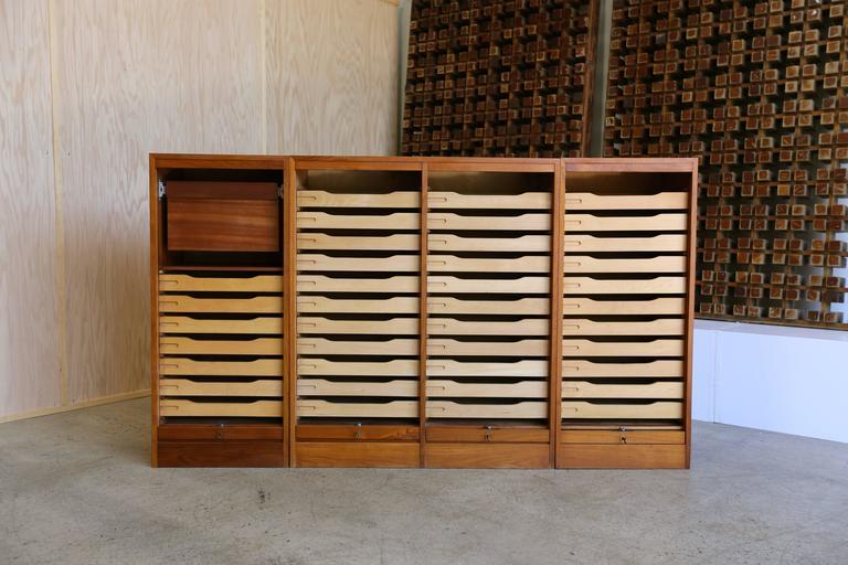 Teak Roll Top Or Vertical Tambour Door Cabinet.