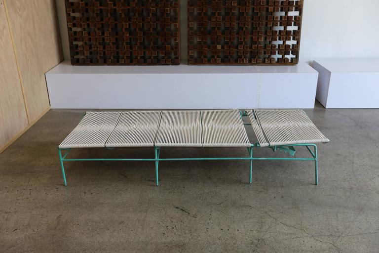 Solid aluminum and rope outdoor adjustable chaise longues for Chaises longues aluminium
