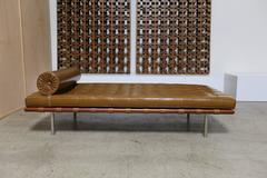 Caramel Leather and Rosewood Daybed by Mies van der Rohe for Knoll 1974