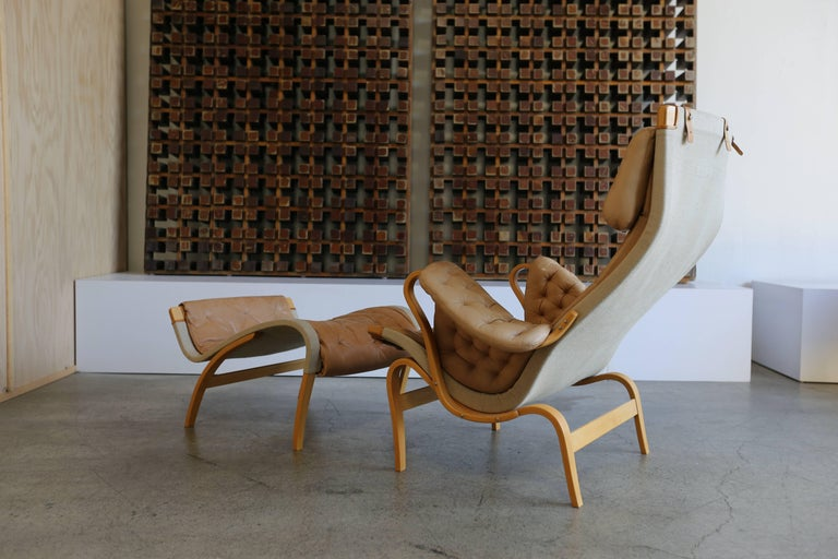 Pernilla Lounge Chair with Ottoman by Bruno Mathsson 4