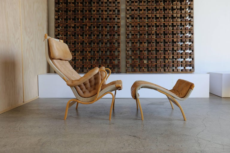 Pernilla Lounge Chair with Ottoman by Bruno Mathsson 2