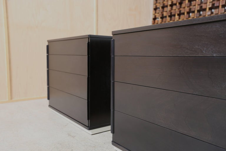 Ebonized pair of chest by Edward Wormley for Dunbar. This pair can also be used as oversized nightstands.