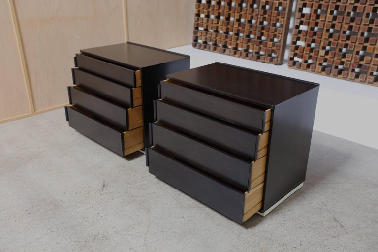 Mid-Century Modern Ebonized Pair of Chest by Edward Wormley for Dunbar For Sale