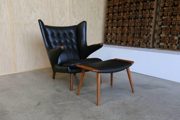 Mid-Century Modern Black Leather Papa Bear Chair and Ottoman by Hans J. Wegner For Sale
