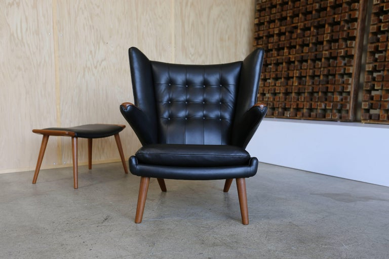 Black Leather Papa Bear Chair And Ottoman By Hans J