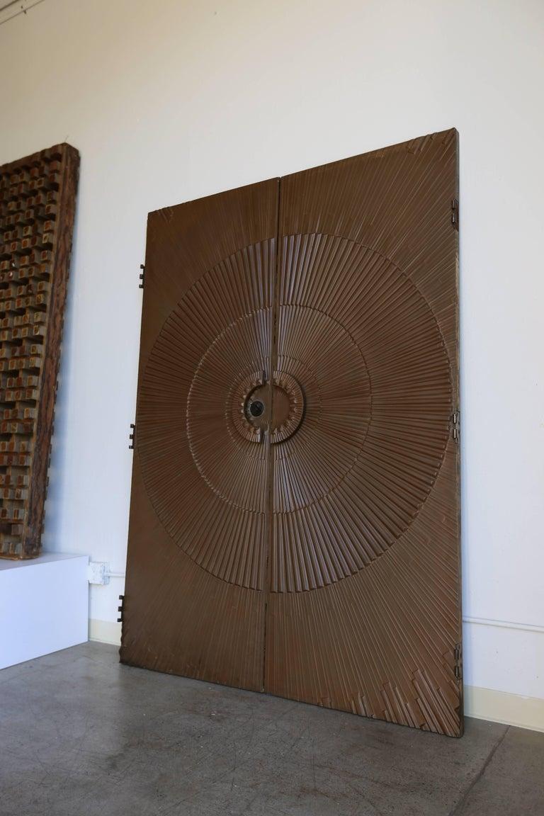 Mid-Century Modern Sculptural Sunburst Bronze Doors by Kaylien For Sale