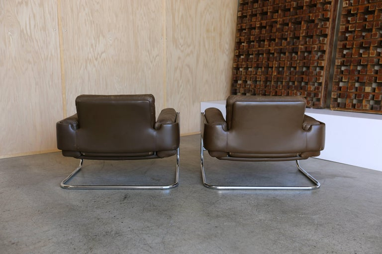 20th Century Patinated leather Lounge Chairs by Sven Ivar Dysthe for Dokka Mobler Norway  For Sale