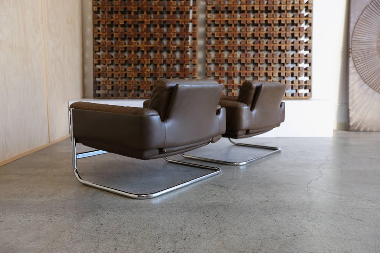 Unknown Patinated leather Lounge Chairs by Sven Ivar Dysthe for Dokka Mobler Norway  For Sale