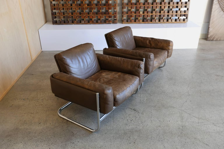 Patinated leather Lounge Chairs by Sven Ivar Dysthe for Dokka Mobler Norway  In Good Condition For Sale In Costa Mesa, CA