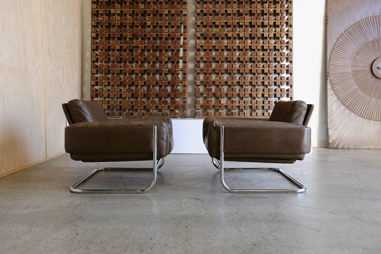 Mid-Century Modern Patinated leather Lounge Chairs by Sven Ivar Dysthe for Dokka Mobler Norway  For Sale
