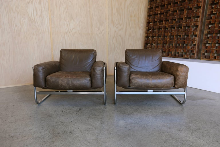 Leather Patinated leather Lounge Chairs by Sven Ivar Dysthe for Dokka Mobler Norway  For Sale