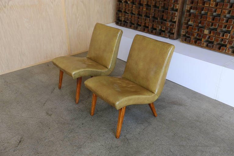 Mid-Century Modern Early Pair of Lounge Chairs by Jens Risom for Knoll For Sale