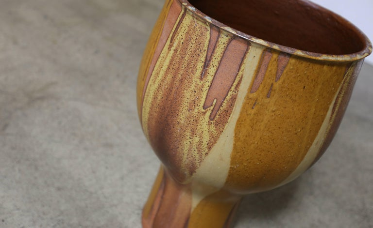 Mid-Century Modern Large Flame Glazed Chalice Planter by David Cressey for Architectural Pottery For Sale