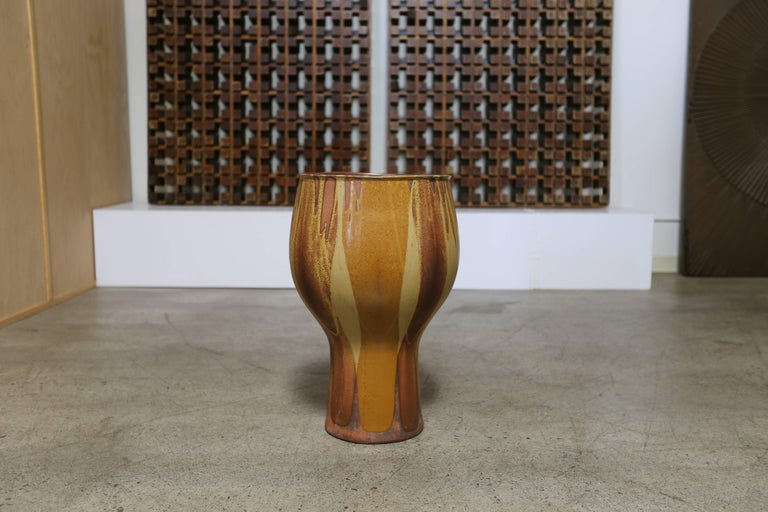 American Large Flame Glazed Chalice Planter by David Cressey for Architectural Pottery For Sale