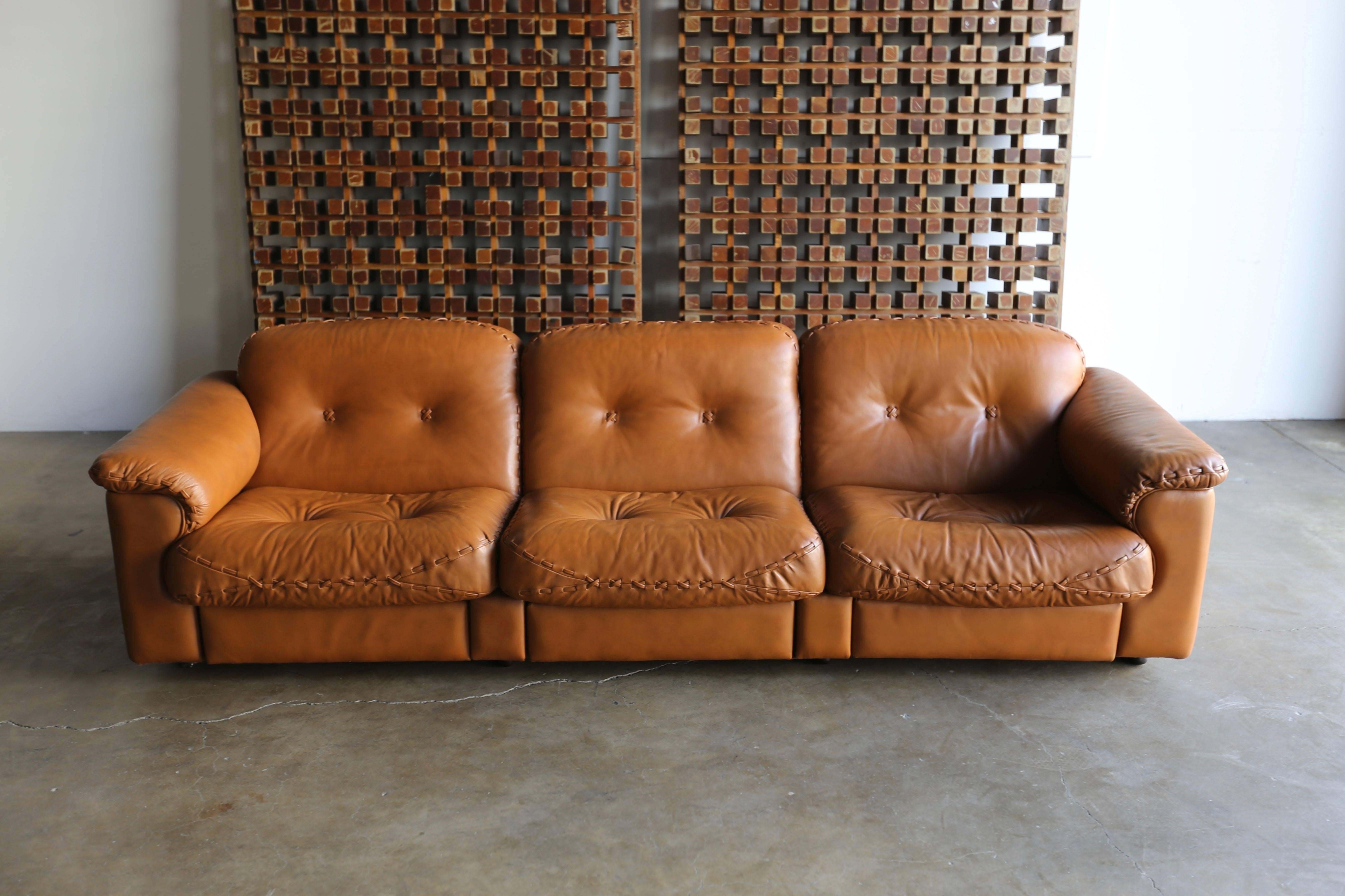 Mid Century Modern Leather DS 101 Sofa And Ottoman By De Sede For Sale