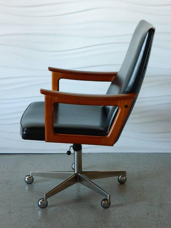 This mid-century modern desk chair has teak armrests and is upholstered in its original : contemporary desk chairs - Cheerinfomania.Com
