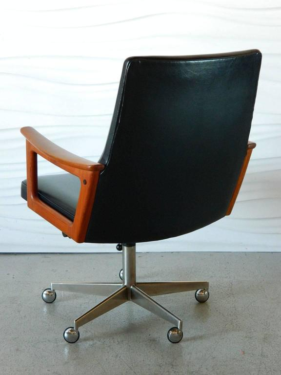 mid century modern danish teak desk chair in the style of arne